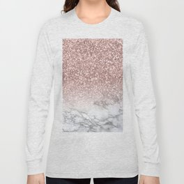 Sparkle - Glittery Rose Gold Marble Long Sleeve T-shirt