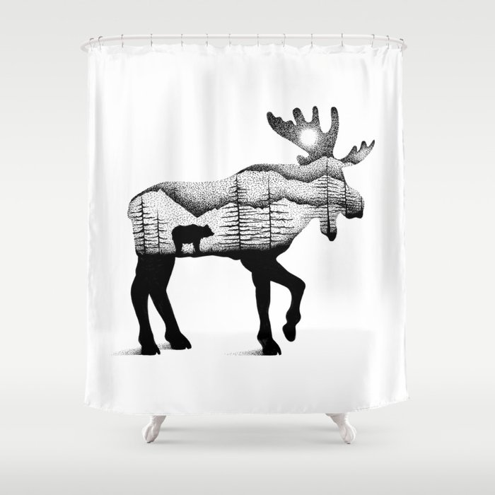 THE MOOSE AND BEAR Shower Curtain By Thiagobianchini