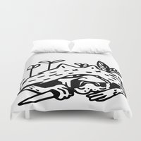 monster hunter Duvet Covers featuring Hunter by Tipitina