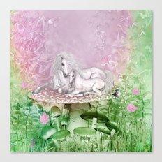 Wonderful unicorn with foal Canvas Print
