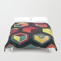 fez Duvet Covers featuring Idea Kitchen by Terran Relic