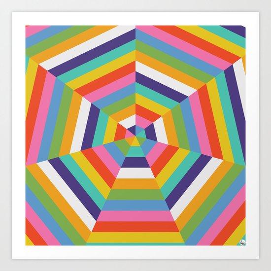 Heptagon Quilt 4 Art Print