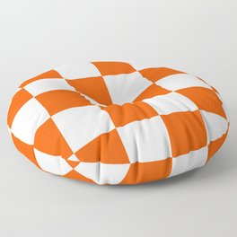 Large Checkered - White and Dark Orange Floor Pillow