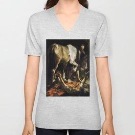 Conversion on the Way to Damascus by Caravaggio (1601) Unisex V-Neck