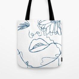 Floral Girl Line Art Tote Bag