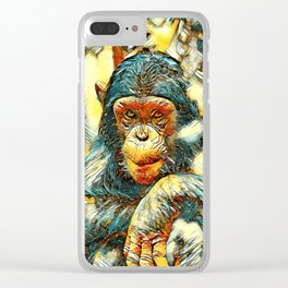 AnimalArt_Chimpanzee_20180201_by_JAMColorsSpecial Clear iPhone Case