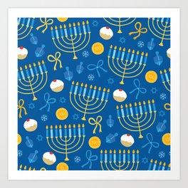Hanukkah Menorah Pattern Art Print