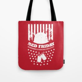 Red Friday American Flag Military Tote Bag