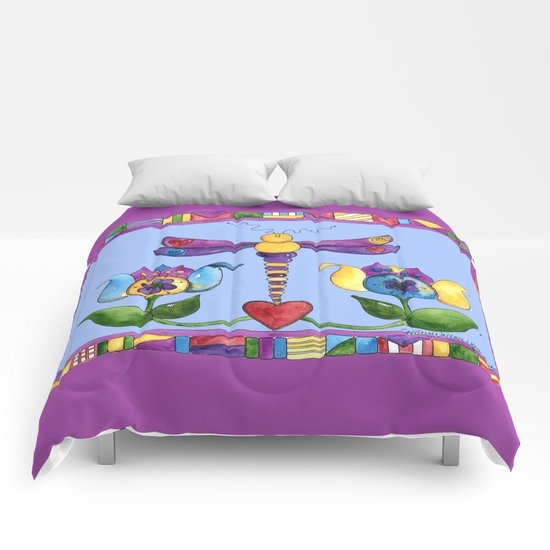 Dragonfly Love with Border Comforters