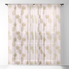 Pink & Gold Pineapples Pattern Sheer Curtain