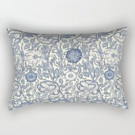 William Morris Navy Blue Botanical Pattern 6 Rectangular Pillow