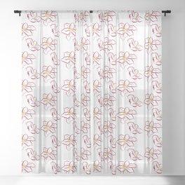 Poinsettia pattern - white Sheer Curtain