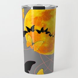 Butterfly Moon in Charcoal Grey Color Art Abstract Travel Mug