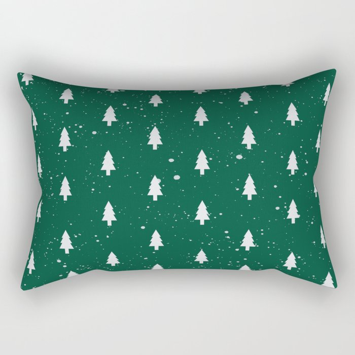 Christmas Trees Pattern Green Rectangular Pillow