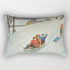 Happy vintage winter sledders Rectangular Pillow