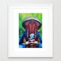 hippo Framed Art Prints featuring Hippo by John Turck