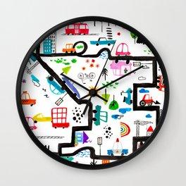 Busy City Streets Kids Watercolor Pattern Wall Clock