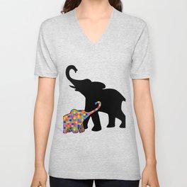 Elephant Autism Awareness Support Unisex V-Neck