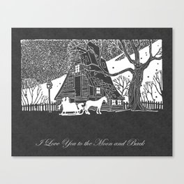 I Love You to the Moon and Back Romantic Snow Scene Chalkboard Canvas Print