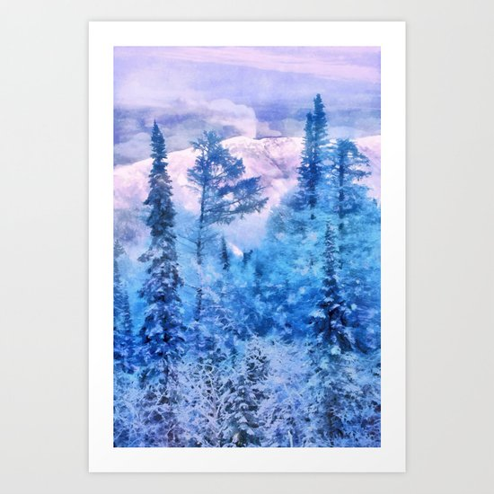 Winter forest in mountains Art Print
