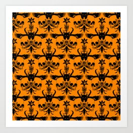 The Flying Black Cat Spell | damask | orange pumpkin Art Print