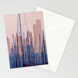 City Harbor Skyline Abstract Stationery Cards