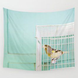 Finch against Turquoise Wall, Jerusalem Wall Tapestry