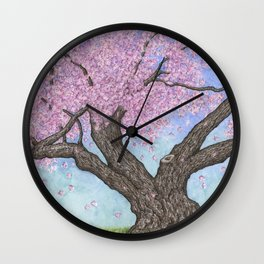 Cherry Blossom Tree Ink and Watercolor  Wall Clock