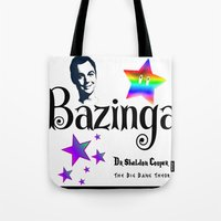 humor Tote Bags featuring Sheldon Humor by SwanniePhotoArt