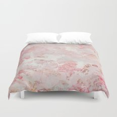 Vintage Floral Rose Roses painterly pattern in pink on #Society6 Duvet Cover