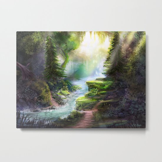 Magical Forest Stream Metal Print