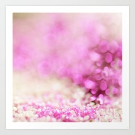 Pink and white shiny glitter effect print - Sparkle Valentine Backdrop Art Print