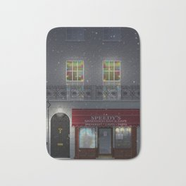 Sherlock tribute poster 221b winter scene Bath Mat