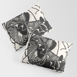 Herbie's Tune, Abstract Jazz Instruments Black and White Block Print Pillow Sham