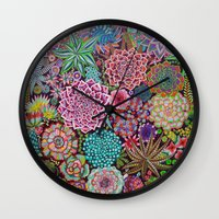 succulents Wall Clocks featuring Succulents by gwolly