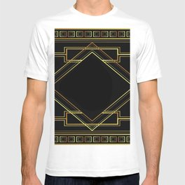 art deco gatsby black and gold lines geometric pattern T-shirt