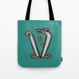 Celtic Medieval Badger Letter V Tote Bag