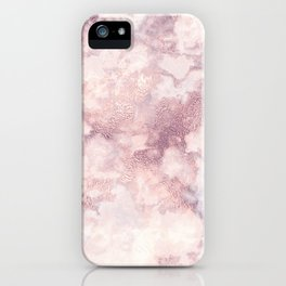 Elegant rose faux gold pink gray luxury marble pattern iPhone Case