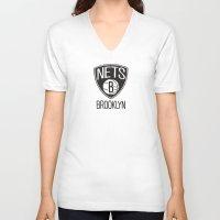 nba V-neck T-shirts featuring Brushed NBA Team Logos - Nets by Katadd