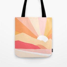 Sunny Coastal Retro Rainbow Tote Bag