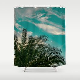Palms on Turquoise - II Shower Curtain