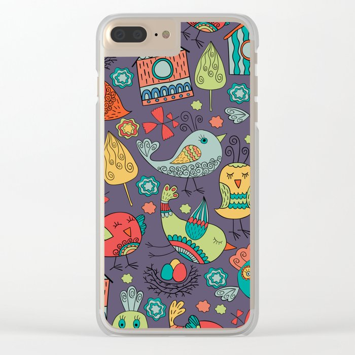 Abstract colorful hand drawn floral pattern design Clear iPhone Case