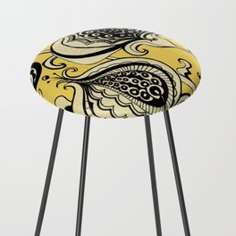 Black and Yellow Floral Counter Stool