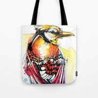 jay fleck Tote Bags featuring Crazy Jay by Abby Diamond