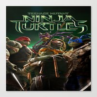 ninja turtle Canvas Prints featuring ninja,turtle by ira gora