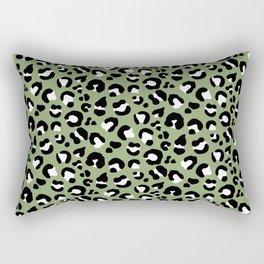 Leopard Print - Olive / Black / White Rectangular Pillow