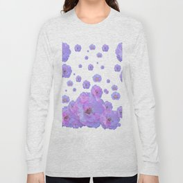 PALE BLUISH-PINK ROSE GARDEN ABSTRACT FLORAL Long Sleeve T-shirt