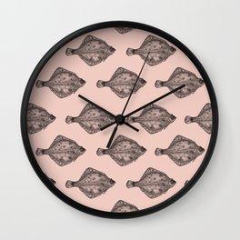 Pink flatfish pattern Wall Clock