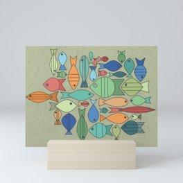 Retro Fish White Mini Art Print