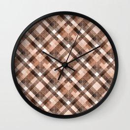 Beige, brown tartan plaid. Wall Clock